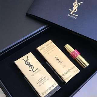 YSL primer, foundation, lipstick giftbox