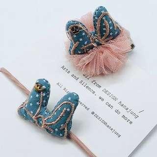 🚚 韓國藍色兔子耳朵/蝴蝶結星星(兩個一組)