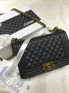Chanel Boy Caviar with Gold Hardware