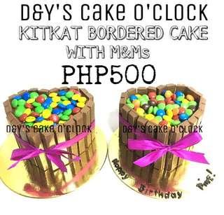 KITKAT BORDERED CAKE W/ M&Ms