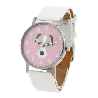 Unisex Lovely Cute Dogs Pattern PU Leather Bracelet Casual Quartz Watch(White)