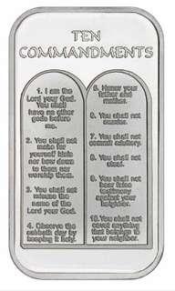 .999 1 oz Silver Bar Ten Commandments