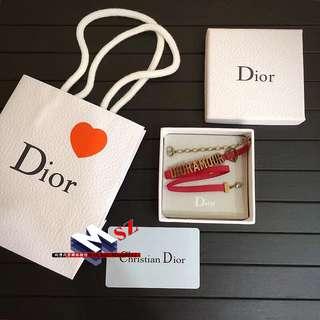 Dior 限量版 Dioramour紅色羅緞 項鍊 手鍊