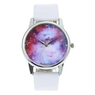 Fashion Waterproof Purple Starry Sky Watch Women Leather Watch(White)