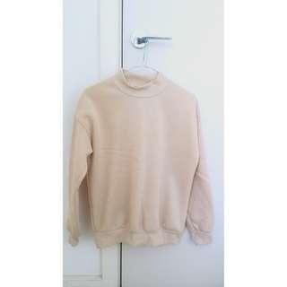 High neck beige sweater