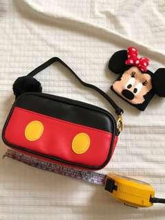 🚚 日本帶回 迪士尼正版米奇造型化妝包 手提包 小物包