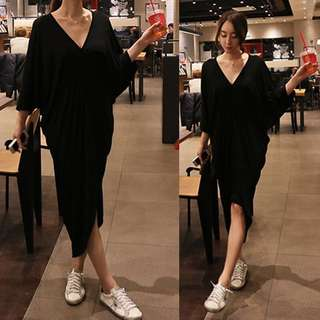 韓國黑色連身長裙休閑,寬鬆款,非常百搭