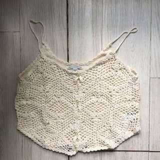 American Eagle White Crochet Top