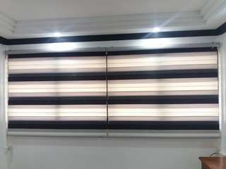 Supply and install track,rod,curtain and blind