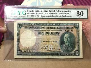Strait settlement 10dollar PMG30 Year 1935