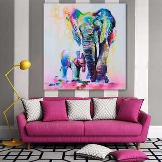 Mama Elephant Art Print 60cm x 60cm