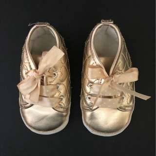 Mothercare heart shape gold canvas shoes for 3-month baby girl
