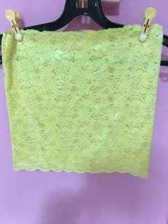 Yellow Lace Boob Tube Inner Wear