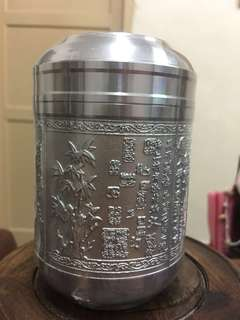 Genuine Tin tea caddy ten caddy tuba-small size (正品锡罐茶叶罐小号) bamboo