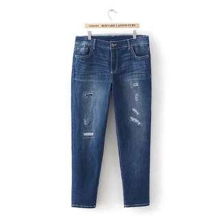 Plus size denim ripped Jeans