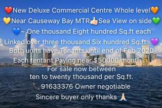 ❤️New Deluxe Commercial Centre Whole level🧡 Sea View 💛Near Causeway Bay MTR 👍🏻