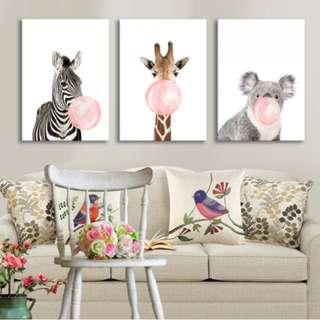 Zebra Giraffe Koala Art Prints (Set of three)