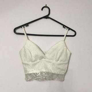 White Lace Triangle Crop Top