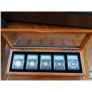 1988-P CHINA GOLD PANDA Proof PCGS PF69DCAM 5 Coins 1.9oz Set in Wooden Box
