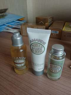 L'Occitane Amande travel size - skin oil, body cream, shower oil