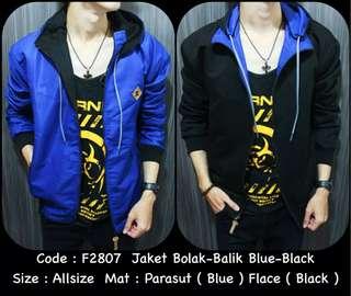 Jaket Bolak Balok Leon Premium - Blue Black