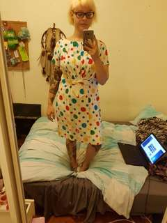 Vintage colourful polka dot dress