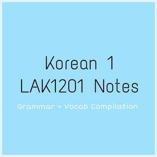 LAK1201 (Korean 1) Personal Notes