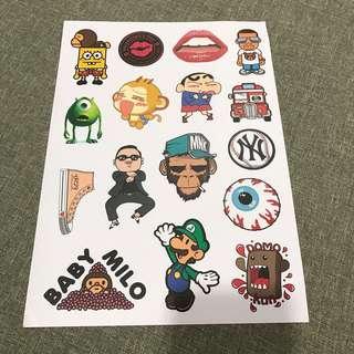 A7 Cartoon- Luggage/ notebook/ guitar / laptop stickers