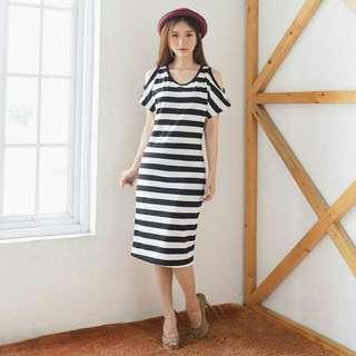 Dress shana stripe  REAL PICT spandek motif salur asli fit L