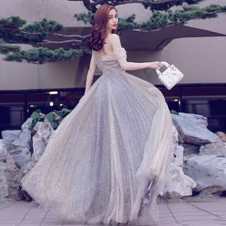 Christian Dior Inspired Dinner Dress (Rent) Off Shoulder Grey Sparkle Sequin Silver Angelababy #ramadan50