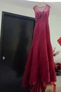 Red wine lace gown