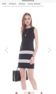 ACW double lined colourblock shift dress in black