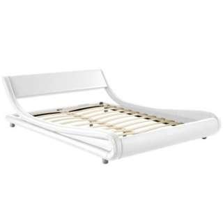 Luxury Queen Size Bed Frame FLIO Wooden PU Leather Steel Beam Mattress White