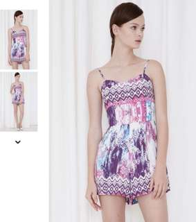 Flashmob bridge Arden playsuit romper in purple pink