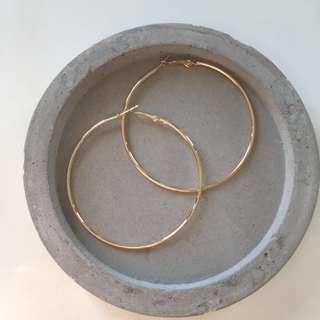 Gold 7cm Hoop Earrings