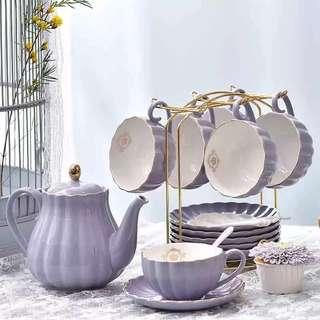 歐式陶瓷红茶杯架套具美式1壺+6杯+6碟+6匙🥄+1鍍金杯架(香芋色、粉紅色、純白色、卡其色)