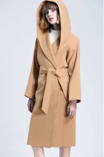 Brand new unworn Camel hooded wool Long coat
