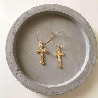 Gold Cross Pendant Earrings