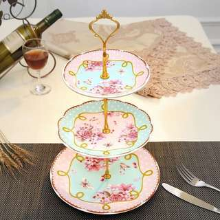 歐式陶瓷下午茶点心架玻璃蛋糕三層托盤子