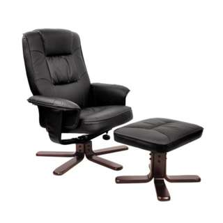 PU Leather Reclining Arm Chair & Ottoman - Black