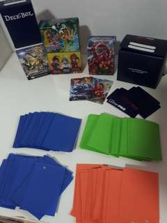 Card supplies deck box and card sleeves