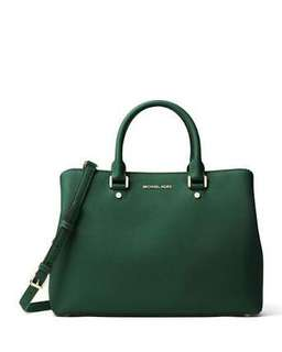 TAS BRANDED : MICHAEL KORS SAVANNAH LARGE SAFFIANO IN GREEN