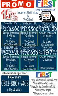 Internet unlimited & tv cabel