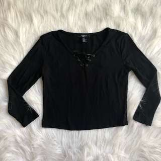 Forever 21 black lace up crop top