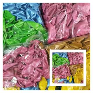 Pack of 100 Balloons (high quality, pearlized/metallic, indoor use) (different colors) (two sizes available: size-12 and size-7)
