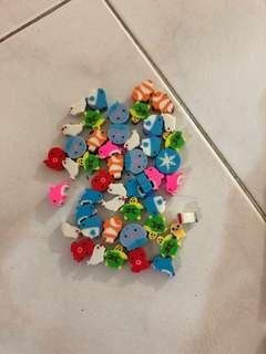 Assorted erasers