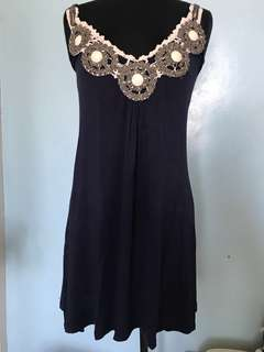 Navy Dress with Embellished Neckline