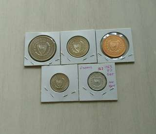 Cyprus 1963 proof set consists of 1,5,25,50 & 100 cents