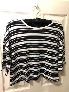 Forever 21 Striped Black and White Top