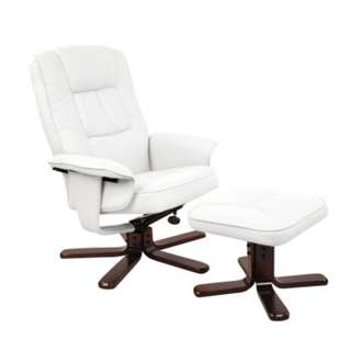 PU Leather Reclining Arm Chair & Ottoman - White